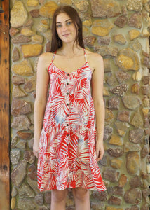 Button up Dress - White Fronds on Red