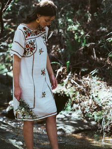 Romina Mini Dress in Wild Flower White