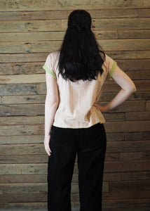 Chinese Collar Top - Blush with Light Green Trim