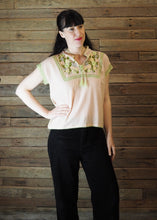 Load image into Gallery viewer, Chinese Collar Top - Blush with Light Green Trim