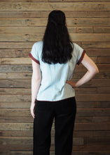 Load image into Gallery viewer, Chinese Collar Top - Baby Blue with Henna Trim