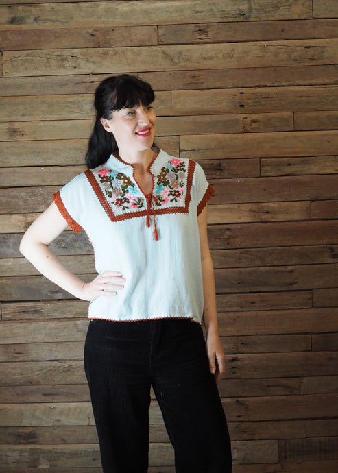 Chinese Collar Top - Baby Blue with Rust Trim