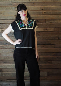 Chinese Collar Top - Black with Blue Floral