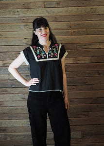 Chinese Collar Top - Black with Pink Floral