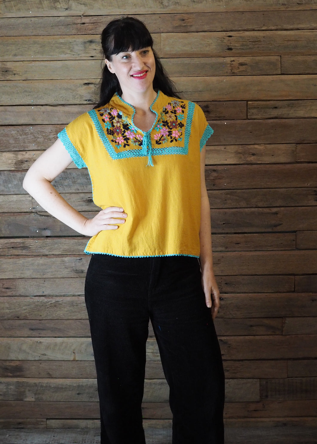 Chinese Collar Top - Butterscotch with Aqua Trim