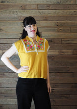 Load image into Gallery viewer, Chinese Collar Top - Butterscotch with Cream Trim