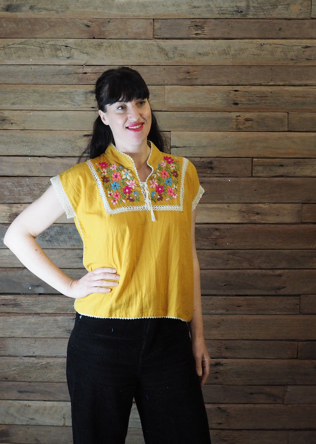 Chinese Collar Top - Butterscotch with Cream Trim