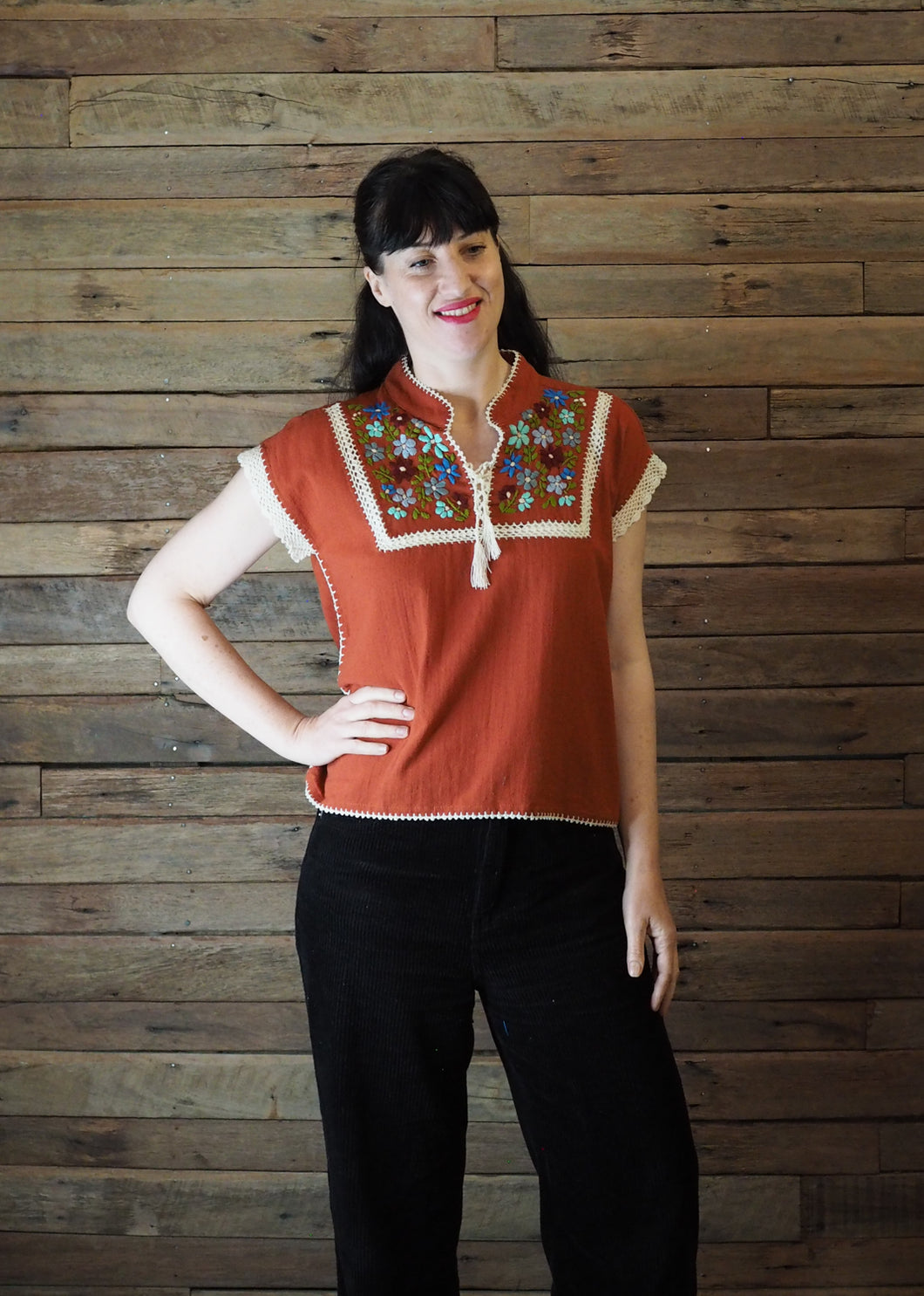 Chinese Collar Top - Rust with Cream Trim