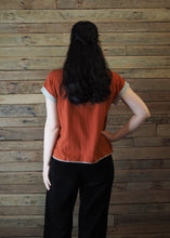 Load image into Gallery viewer, Chinese Collar Top - Rust with Taupe Trim