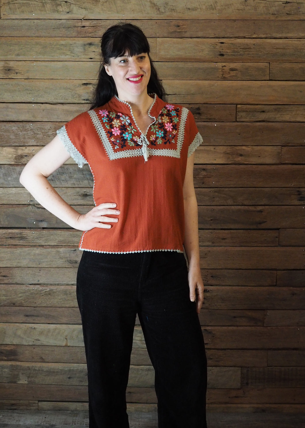 Chinese Collar Top - Rust with Taupe Trim