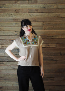 Chinese Collar Top - Taupe with Blue Floral