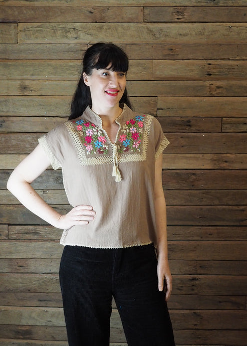 Chinese Collar Top - Taupe with Pink Floral