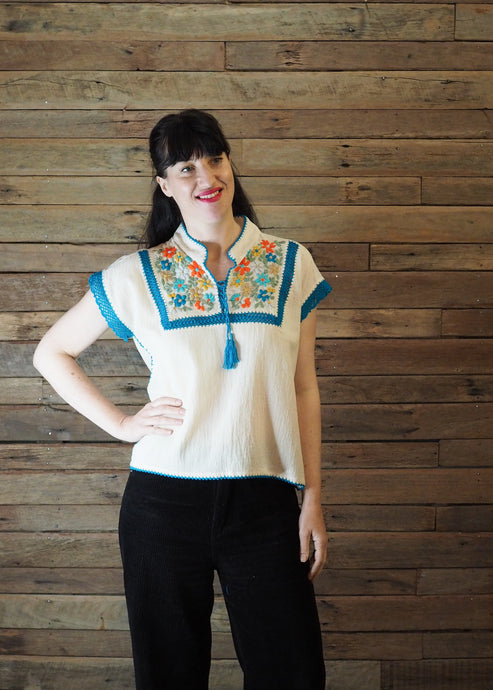 Chinese Collar Top - White with Blue Trim