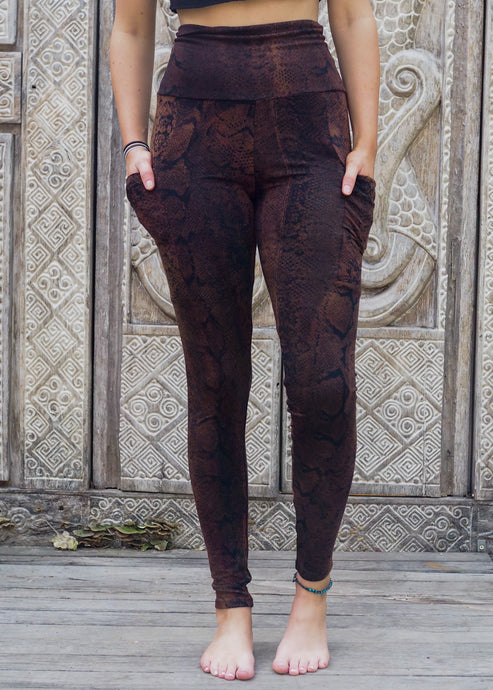 Pocket Leggings - Copper Brown Snake Pattern