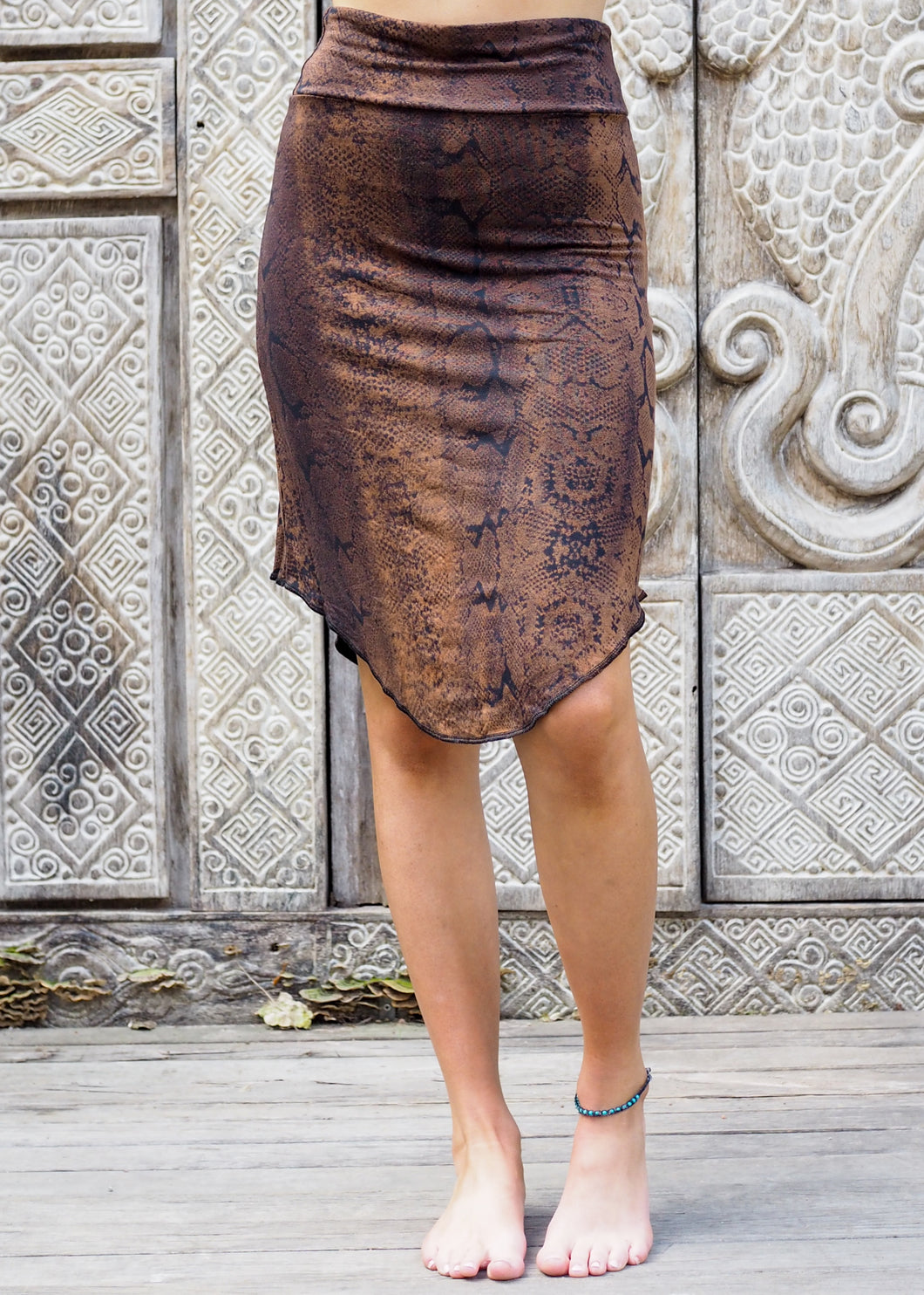 Copper Black Snake Stretchy Skirt