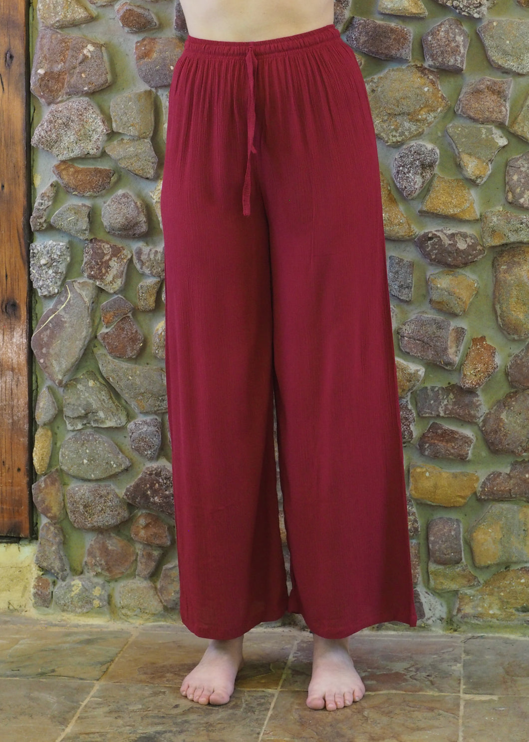 Crepe Pants - Crimson