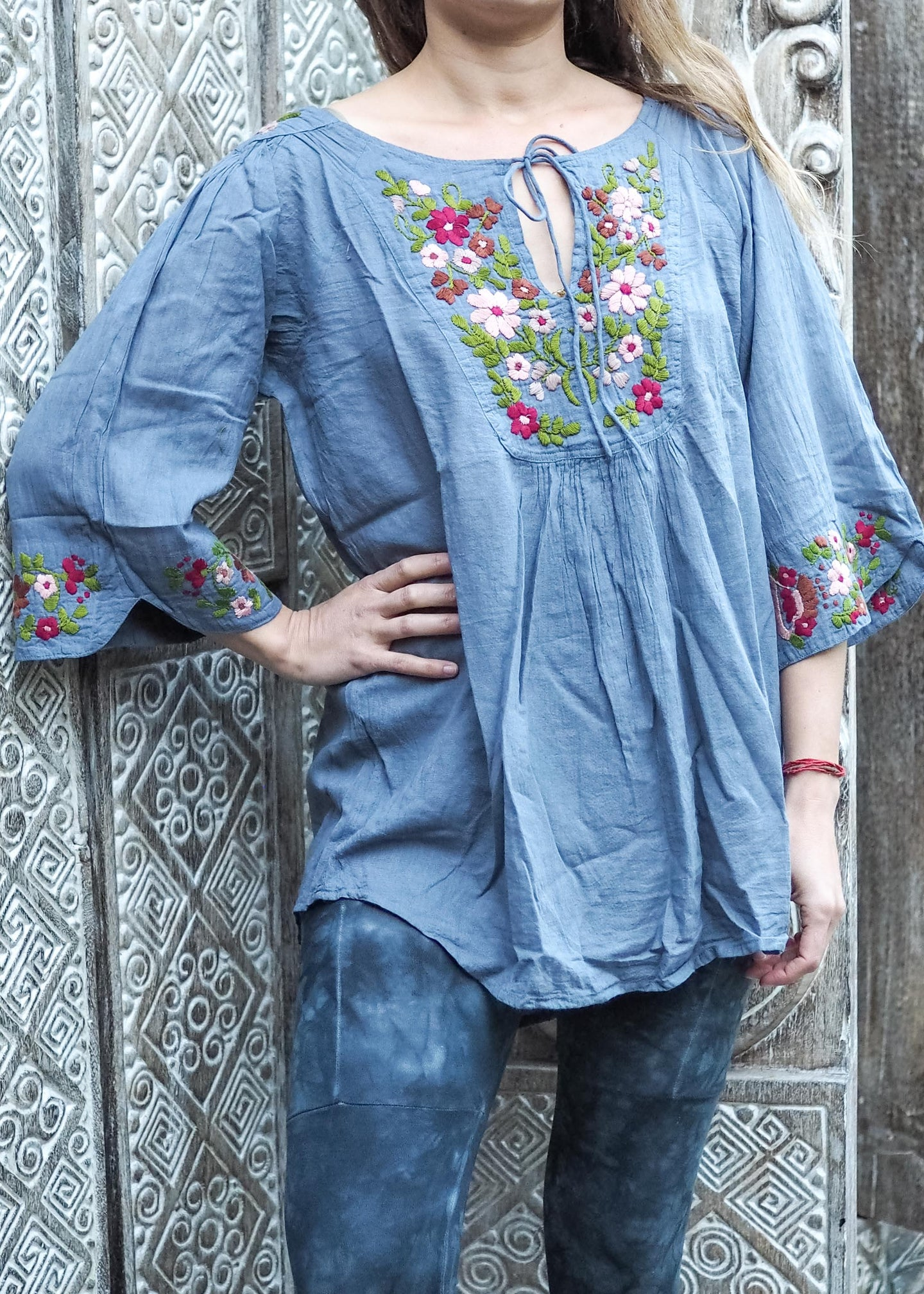 Embroidered Peasant Blouse Light Blue