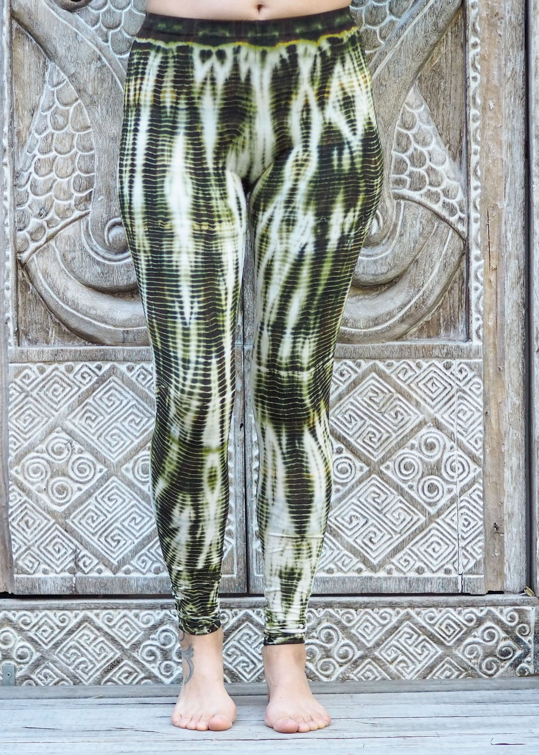 Tie Dye Leggings - Olive Ripples