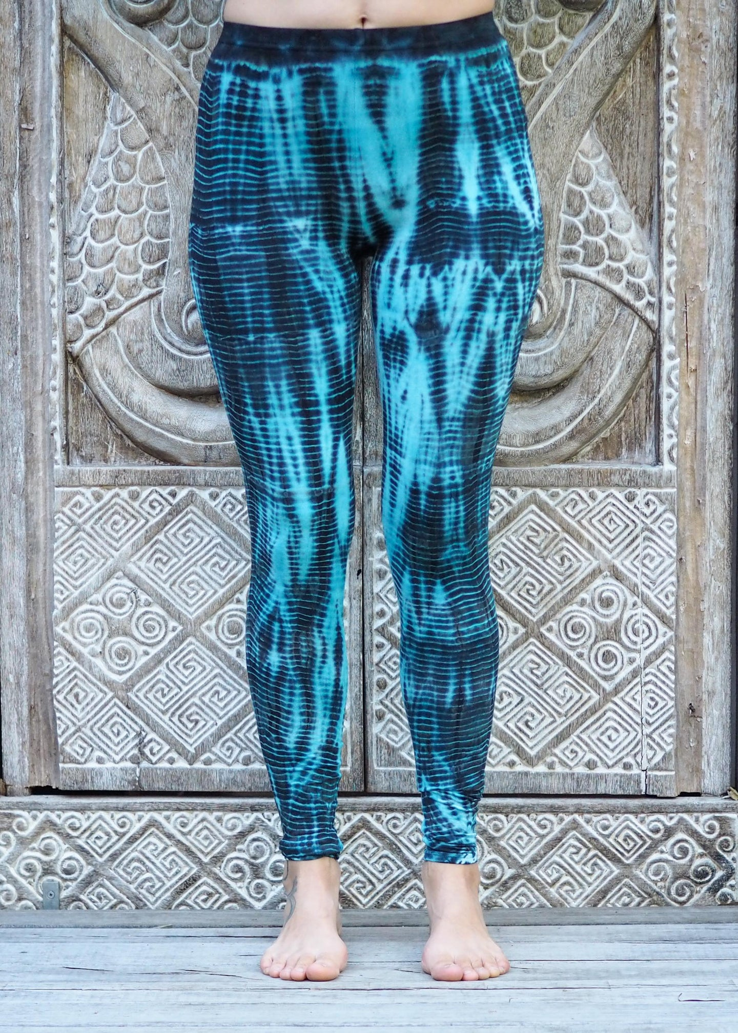 Tie Dye Leggings - Blue Ripples