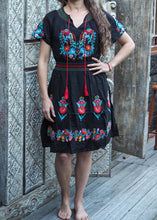 Load image into Gallery viewer, Mexican Embroidered Dress - Black
