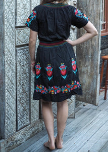 Mexican Embroidered Dress - Black