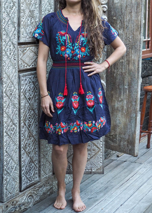 Mexican Embroidered Dress - Navy