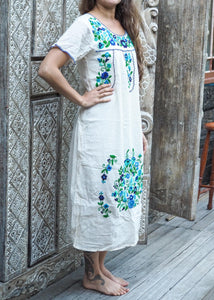 Long Frida Dress White with Blues & Green