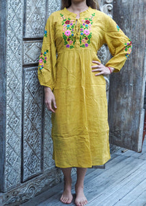 Peasant Embroidered Dress Sunshine Yellow