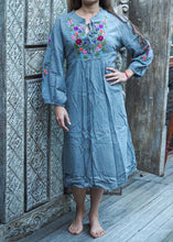 Load image into Gallery viewer, Peasant Embroidered Dress Grey