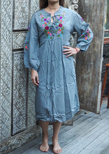 Peasant Embroidered Dress Grey