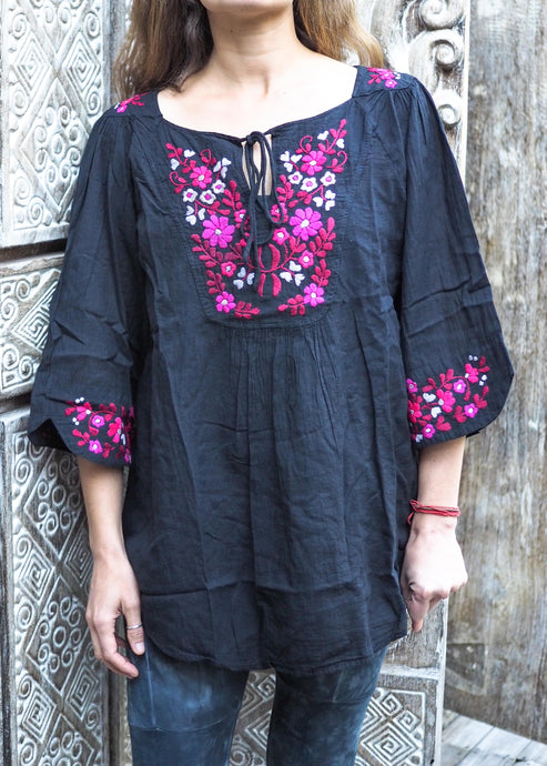 Embroidered Peasant Blouse Black & Pink