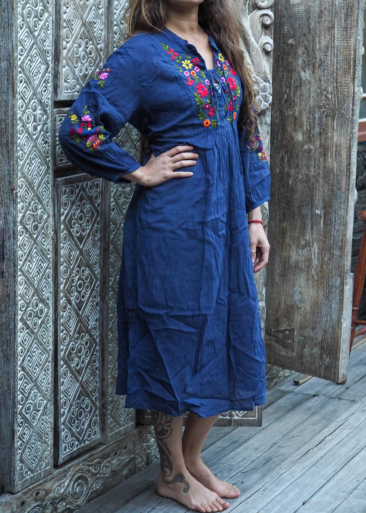 Peasant Embroidered Dress Navy Blue