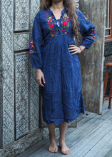 Load image into Gallery viewer, Peasant Embroidered Dress Navy Blue