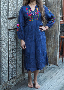 Mexicana Loose Dress Navy Blue