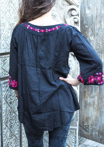 Wildflower Blouse Pink Floral on Black