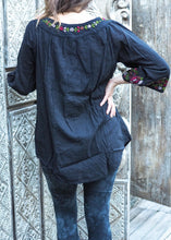 Load image into Gallery viewer, Embroidered Peasant Blouse Black