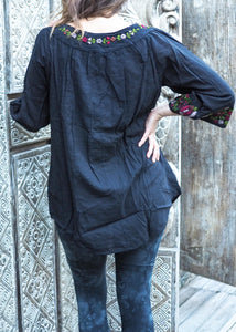 Embroidered Peasant Blouse Black