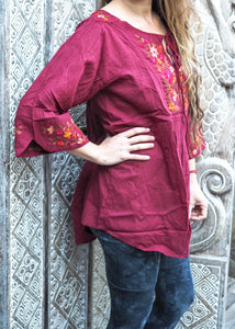 Embroidered Peasant Blouse Autumn