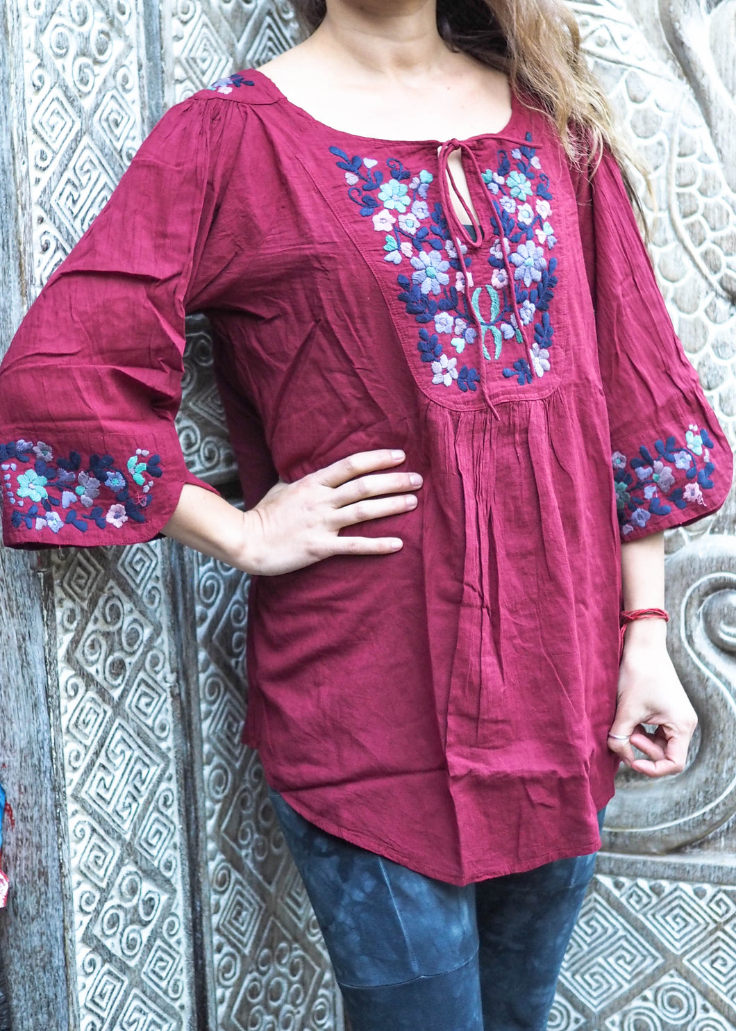 Wildflower Blouse Blue Floral on Crimson