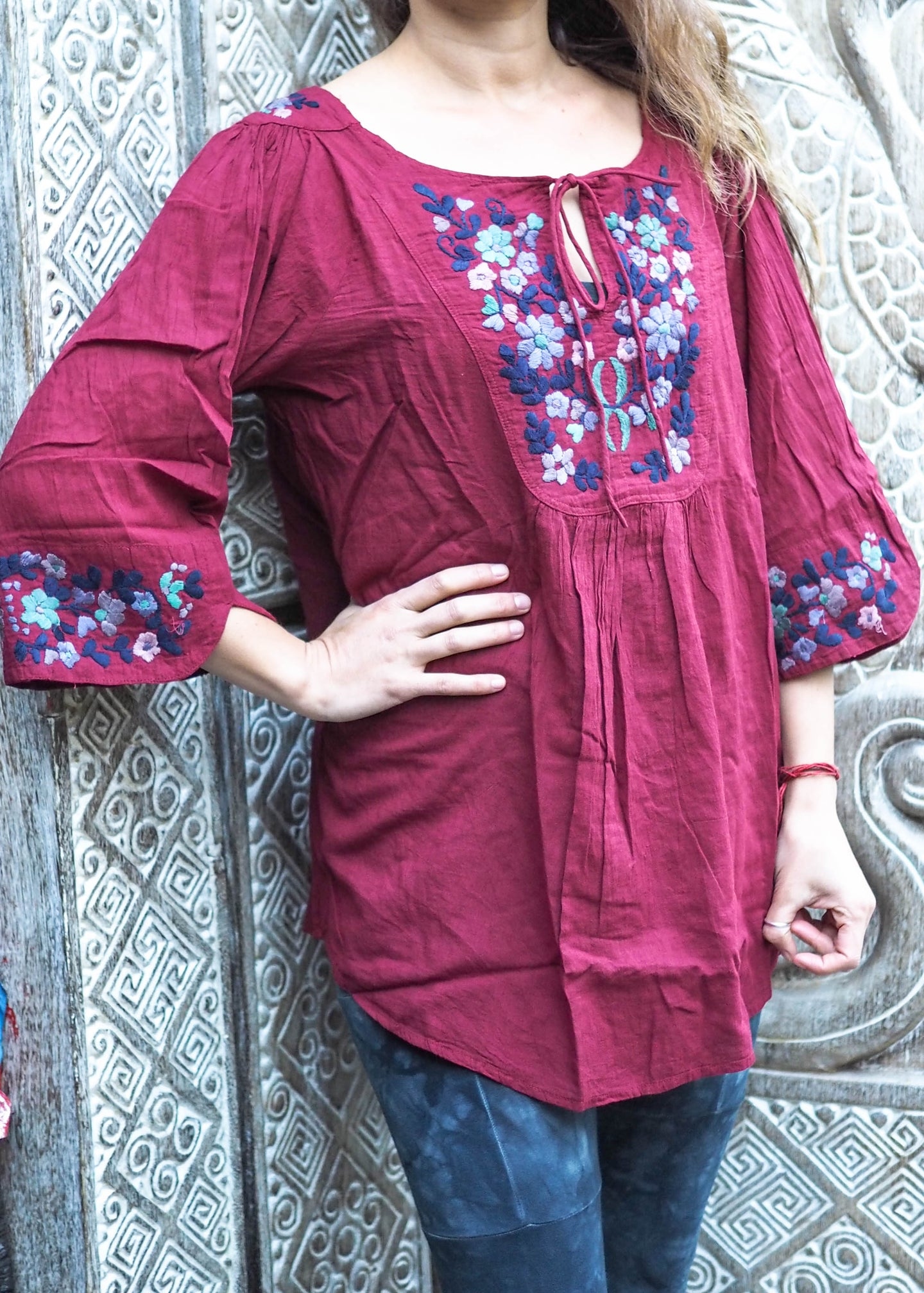 Embroidered Peasant Blouse Spring