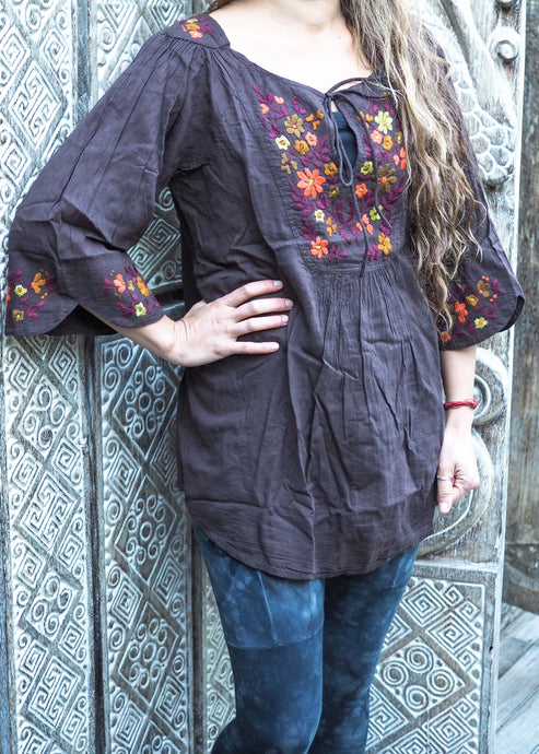 Embroidered Peasant Blouse Charcoal