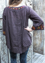 Load image into Gallery viewer, Embroidered Peasant Blouse Charcoal