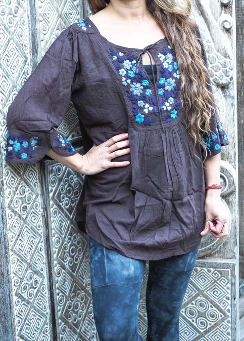 Embroidered Peasant Blouse Charcoal & Blues