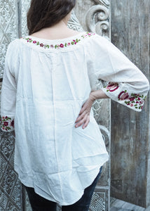Wildflower Blouse Floral on White