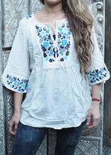 Load image into Gallery viewer, Embroidered Peasant Blouse White and Blue