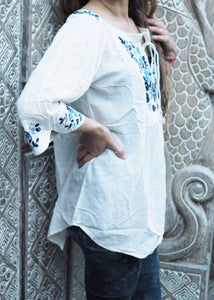 Embroidered Peasant Blouse White and Blue