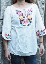 Load image into Gallery viewer, Embroidered Peasant Blouse White