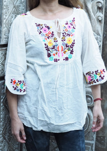 Embroidered Peasant Blouse White