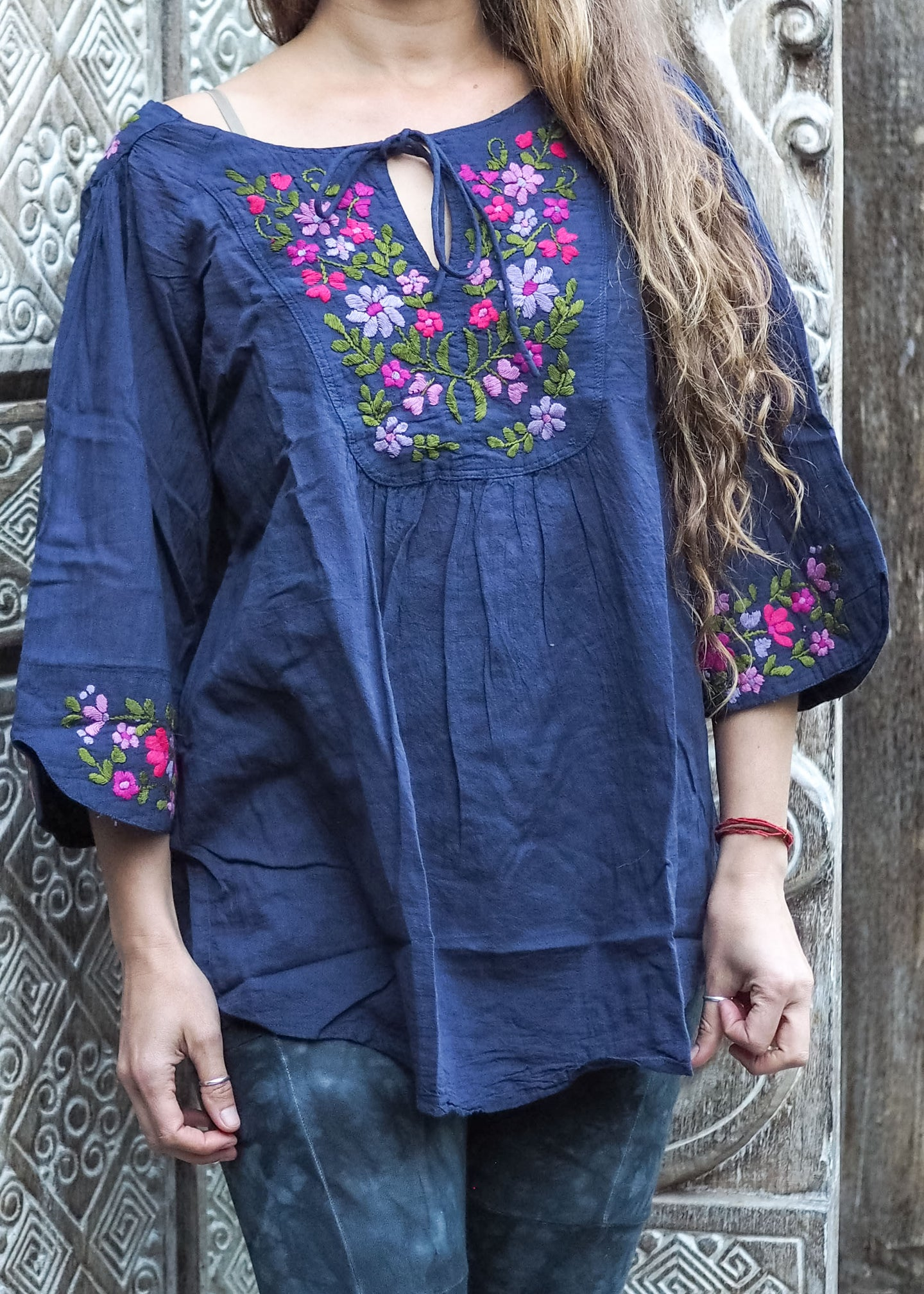 Embroidered Peasant Blouse Blue