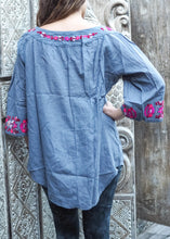 Load image into Gallery viewer, Embroidered Peasant Blouse Light Blue